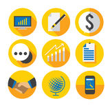Business flat icon. In yellow theme color Royalty Free Stock Images