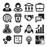 Business flat icons. Black. Set of black flat icons about business. Start up Royalty Free Stock Photos