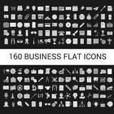 160 Business Flat Icons Collection Stock Photos