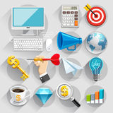Business flat icons color set. Stock Images