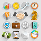 Business flat icons color set. Royalty Free Stock Photo