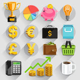 Business flat icons color set. Royalty Free Stock Photos