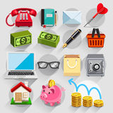 Business flat icons color set. Vector illustration royalty free illustration