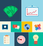 Business flat icons for infographic. Vector Stock Images