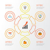 Business Flat Icons Set. Collection Of Billfold, Statistics, Hierarchy And Other Elements. Also Includes Symbols Such As. Business Flat Icons Set. Collection Of Royalty Free Stock Photos