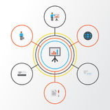 Business Flat Icons Set. Collection Of Chatting, Presentation Board, Presenting Man And Other Elements.   Royalty Free Stock Images