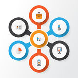 Business Flat Icons Set. Collection Of Suitcase, Presenting Man, Work Man And Other Elements. Also Includes Symbols Such. Business Flat Icons Set. Collection Of Stock Image