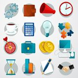Business Flat Icons Set. With gears wallet megaphone clock isolated vector illustration Stock Photography