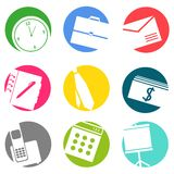 Business flat icons set. Graphic illustration design Royalty Free Stock Images