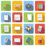 Business flat icons set. Images with long shadow in square, on white background Stock Photography