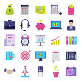 Business flat icons set. Modern icons for internet marketing, business and finance, sales and e-commerce. Interface elements on white background. Vector Stock Photo