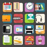 Business Flat Icons Set. Business office stationery flat icons set of clock coffee briefcase and documents  vector illustration Royalty Free Stock Image