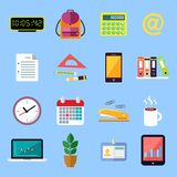 Business Flat Icons Set. Business office stationery flat icons set of id card folders files documents isolated vector illustration Stock Photos