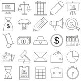 Business Flat Icons Set. Set vector line icons in flat design accounting, finance and business with elements for mobile concepts and web apps Stock Images