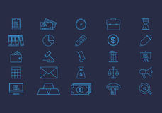 Business Flat Icons Set. Set vector line icons in flat design accounting, finance and business with elements for mobile concepts and web apps Royalty Free Stock Photo