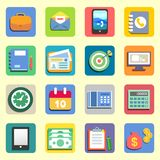 Business flat icons. Set for web or mobile vector illustration Royalty Free Stock Images