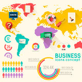 Business flat infographic template with text Stock Photography