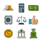 Business flat line icons. Illustration design Royalty Free Stock Images