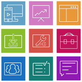 Business flat line icons set. Web and mobile stock illustration