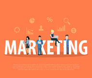 Business Flat Marketing people laptop word vector Stock Images