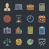 Business Flat Metro Style Icons Stock Photos