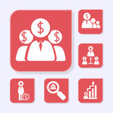 Business flat red icons Stock Photography