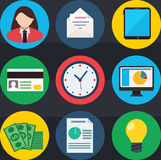 Business flat vector icons set Royalty Free Stock Photography