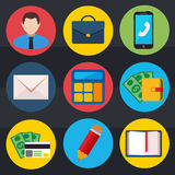 Business flat vector icons set Stock Photo