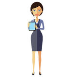 Business flat woman lady showing something important on the tabl Royalty Free Stock Photography