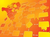 Business flow chart orange. An illustration of a business flow chart against a orange background Stock Photo