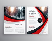 business flyer brochure design template with red and black wavy stock illustration