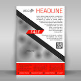 Business flyer. Business flyer design, poster template. Vector layout with red and gray diagonal elements. It resembles a Christmas tree. For Christmas sales Stock Images