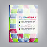 Business flyer template or corporate banner with colored squares. Can be used for print, publishing or working presentation. Vector illustration stock illustration