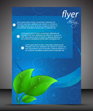 Business flyer template or corporate banner, cover design with green leaves Royalty Free Stock Photography