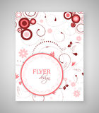 Business flyer template or corporate banner with floral pattern and round text box. Stock Photo