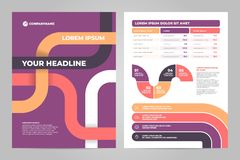 Business flyer template design with infographic. Business flyer template design. Data graphs. Vector financial and marketing charts Stock Image