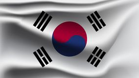 South Korea flag waving with the wind  3D illustration wave flag vector illustration