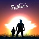 Father and son are holding hands and watching sunset view. Happy Father`s Day Calligraphy greeting card. Vector illustration. Father vector illustration