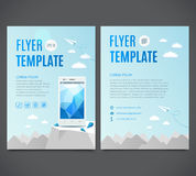 Business flyer template with white smartphone against the backdrop of the white mountains. Vector illustration. Business flyer template with white smartphone vector illustration