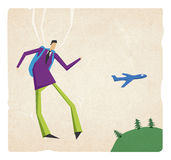 Business flying with parashute Stock Photography