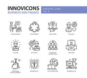 Business and fnance line design icons set Royalty Free Stock Images