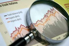 Business Focus. A magnifying glass focusing on a graph in the business section of the newspaper Royalty Free Stock Photo