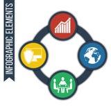 Business Fond abstrait de croissance avec les cercles reliés et les icônes intégrées Image stock
