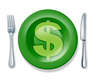 Business food fork plate knife isolated money prof Royalty Free Stock Photo