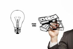 Business formula. Businessman drawing business formula on a white background Royalty Free Stock Photo