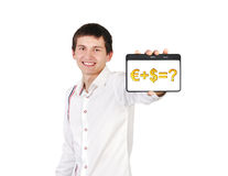 Business formula. Digital tablet with business formula in a hand Stock Photo