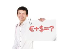 Business formula. Guy holding poster with business formula Royalty Free Stock Photos
