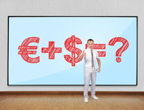 Business formula. Young businessman showing thumb up and plasma with business formula Royalty Free Stock Photo