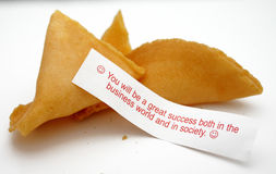 Business Fortune Cookie. Fortune Cookie with slogan you will be a great success both in the business world and in society stock photography