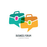 Business forum  logo or label design. Blog or chat portfolio color icon. Royalty Free Stock Photos